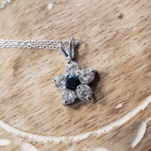 Jewelry - Sterling Silver CZ Flower Necklace
